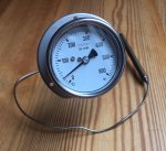 Gasdruck Zeiger Thermometer 160° C, d=250mm